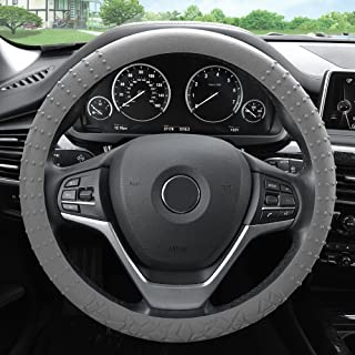 FH Group FH3002GRAY Gray Steering Wheel Cover (Silicone W. Nibs & Pattern Massaging grip Wheel Cover Color -Fit Most Car Truck Suv or Van)