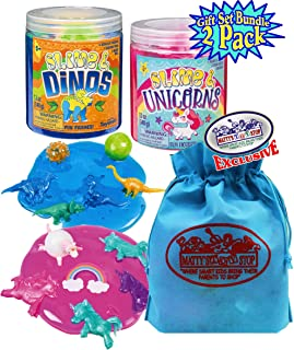Toysmith Slime & Dinos and Slime Unicorn Tubs with Figures Gift Set Bundle with Bonus Matty's Toy Stop Storage Bag - 2 Pack
