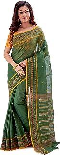 SareesofBengal Women's Bengal Cotton Saree Tangail Tant Jamdani Handloom Sari Green