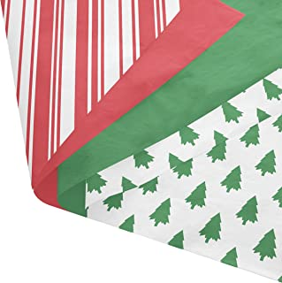 Christmas Gift Tissue Wrap Paper Set - 120 Pcs - 5 Designs of Classic Christmas Patterned and Solid Colors - Green, Red, Stripes, Trees, White - 14 x 20