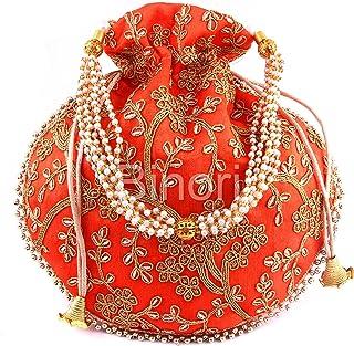 BINORI FASHIONS Rajasthani Style Royal Clutch Silk Batwa Bag Wristlets Ethnic Potli For Women's Zari Work Potli Bridal Potli