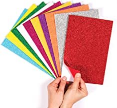 Baker Ross Self-Adhesive Glitter Foam Sheets - Creative Art Supplies for Kids, Seasonal Crafts and Decorations (Pack of 10)