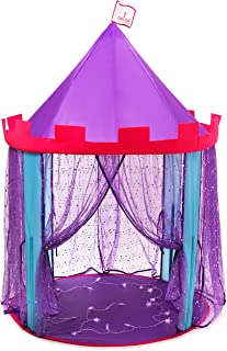 DafiDaf Play Tent Princess Castle for Girls + Bonus Fairy Lights – Pink, Purple, & Blue, Indoor & Outdoor Toddlers & Kids Play Tent Toys – Portable, Foldable Kids Playhouse, 39.4x39.4x60.4""