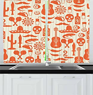 Ambesonne Mexican Kitchen Curtains, South American Culture Sombrero Mariachi Hats Skulls Guiatar Tacos Print, Window Drapes 2 Panel Set for Kitchen Cafe Decor, 55