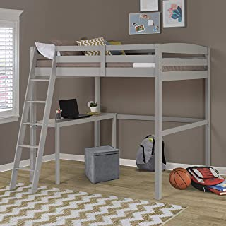Camaflexi Concord Full Size High Loft Bed with Desk Grey