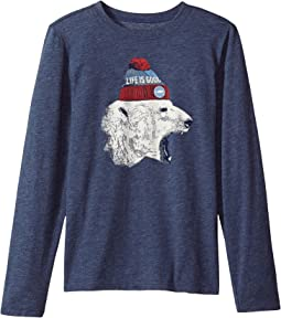Life is Good Kids - Polar Bear Cap Long Sleeve Cool Tee (Little Kids/Big Kids)
