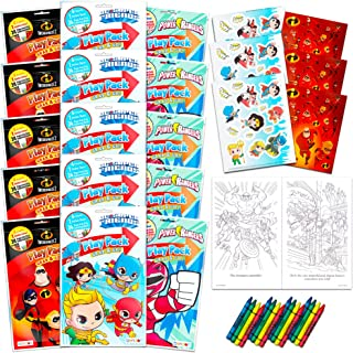 Superhero Party Favors Play Packs Bundle ~ Set of 15 Mini Super Hero Coloring Books with Stickers