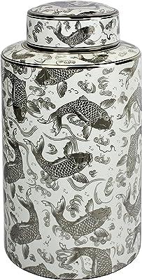 Sagebrook Home 12060-01 Ceramic Covered Jar W/ Koi Motif, Silver/White Ceramic, 7.75 x 7.75 x 15.5 Inches
