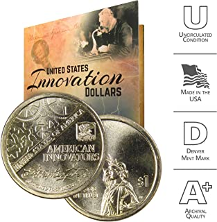 2018 D American Innovation Dollar Coin Set with Custom Folder – George Washington Denver US Mint $1 Dollar Coin from American Innovators Collection Uncirculated