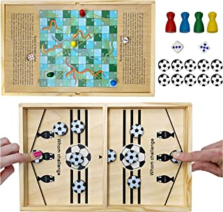 Bundaloo 2-in-1 Classic Table Game Set - Slingshot Puck Soccer & Snakes and Ladders - Includes 10 Soccer Pucks, 2 Dice & 4...