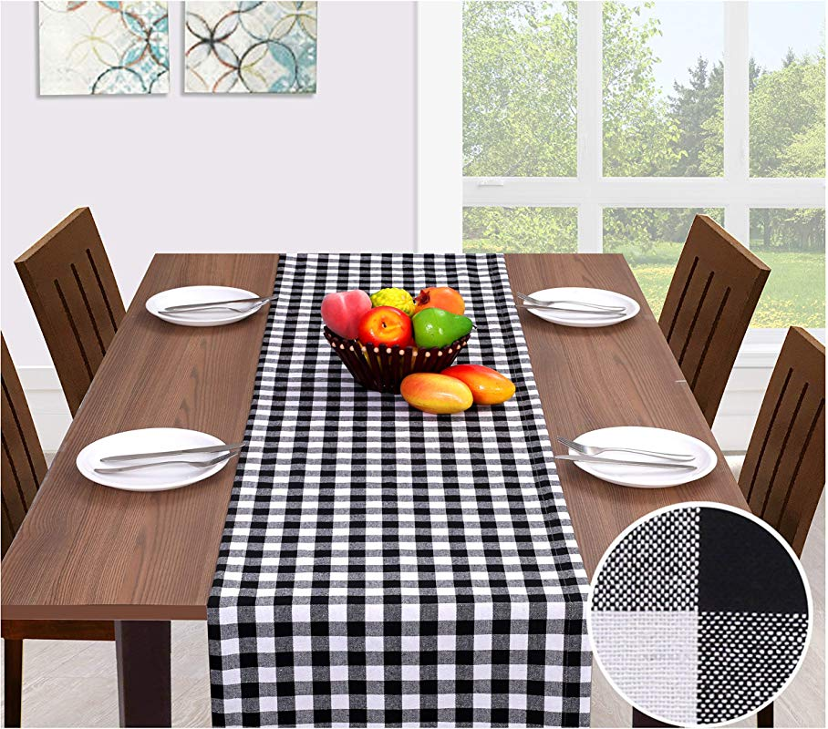 Ramanta Home Cotton Gingham Check Plaid Table Runner For Family Dinners Or Gatherings Indoor Or Outdoor Parties Everyday Use Wedding Table Runner 16x90 Seats 8 10 People Black White 2Pack