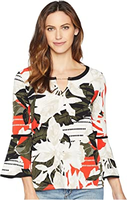 Printed Long Sleeve Blouse w/ Pipping & Hardware