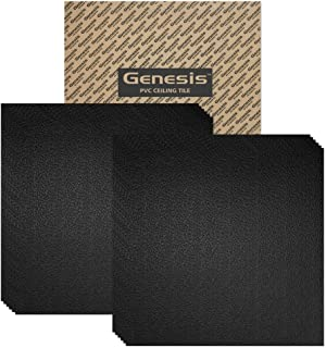 Genesis 2ft x 2ft Black Stucco Pro Ceiling Tiles - Easy Drop-in Installation – Waterproof, Washable and Fire-Rated - High-Grade PVC to Prevent Breakage - Package of 12 Tiles