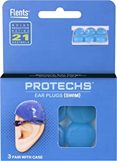 Protechs Ear Plugs for Swimming, 3 Pair with Case, NPR 21