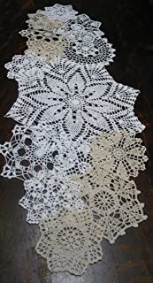 "Set of 14 Hand Crochet Doilies 5""-7""-14"" White & Natural"