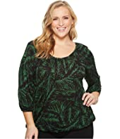 MICHAEL Michael Kors Plus Size Palm Scoop Neck Peasant Top