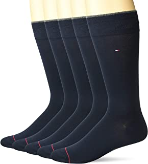 Men's 5 Pair Flat Knit Rayon Blend Crew Socks
