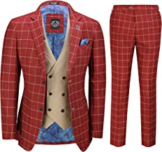 Mens 3 Piece Maroon Retro Grid Check Suit with Contrast Double Breasted Waistcoat Smart Tailored Fit