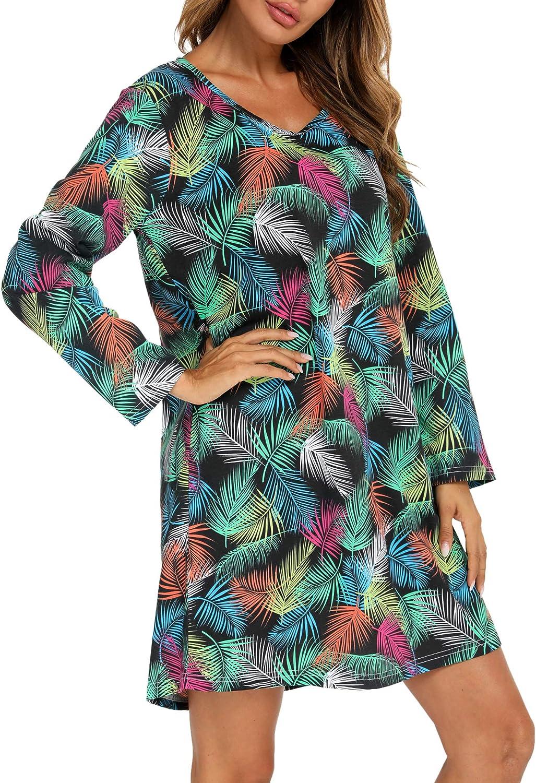 ENJOYNIGHT Women's Cotton Sleepwear Long Sleeves Nightgown Print Tee Sleep Dres