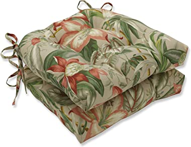 """Pillow Perfect Outdoor/Indoor Botanical Glow Tiger Stripe Large Chair Pads, 17.5"""" x 16.5"""", Floral 2 Pack"""