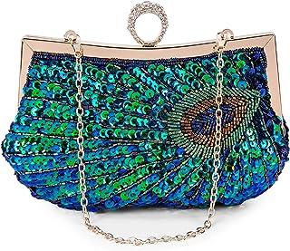 BAIGIO Damen Abendtasche Clutch Pailletten Glitzernd Handtasche Schultertasche Pfau Elegant Schultertasche (Grün)