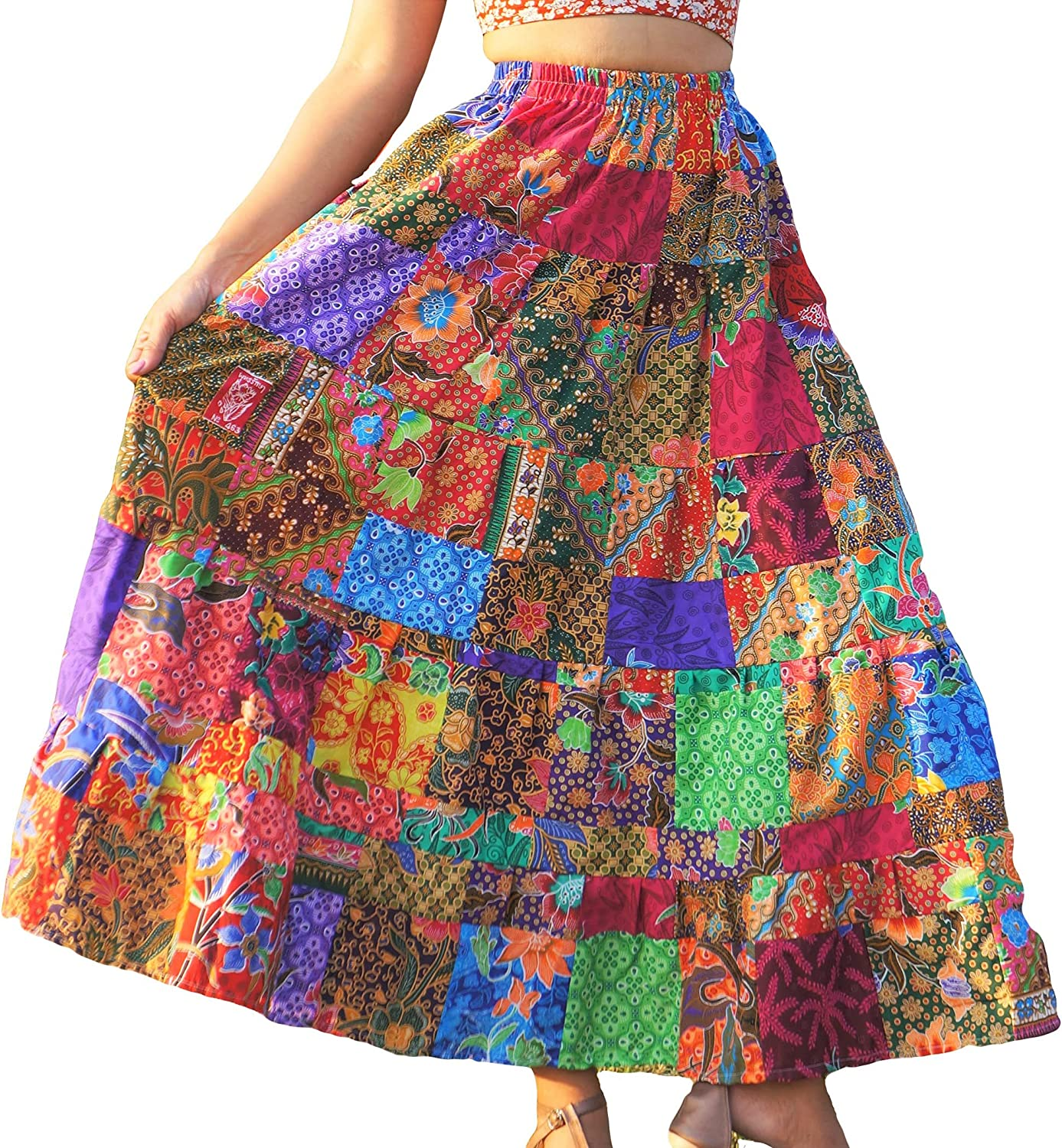 ThaiOnline4u Cotton Patchwork Skirt Boho Hippie Style Flared Flowy Relaxed Summer Multicolored