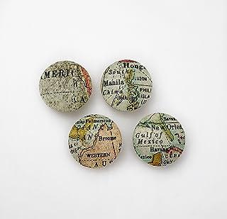 Maps Drawer Knob Pulls Set of 4 / Cabinet / Nursery / Wood / Handles / Room Decor / Furniture Accessories / Kid's Room / Vintage