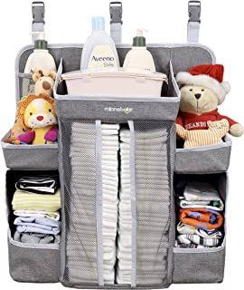 Minnebaby Baby Nursery Organizer and Diaper Caddy Organizer, Hanging Changing Table Diaper Stacker for Crib Storage and Nursery Organization