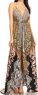 Lizi Womens Maxi High-Low Halter Handkerchief Long Dress Beach Party