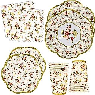 Gold Foil Vintage Floral Party Supplies Set Scalloped Edge 24 9