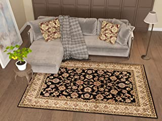 Antique Classic Black 3'11'' x 5'3'' Area Rug Oriental Floral Motif Detailed Classic Pattern Persian Living Dining Room Bedroom Hallway Office Carpet Easy Clean Rug Traditional Soft Quality