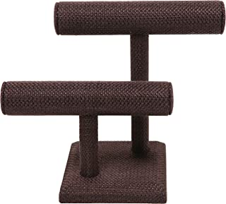 MyGift 2-Tier Brown Woven T-Bar Jewelry Display Stand, Bracelet & Watch Holder