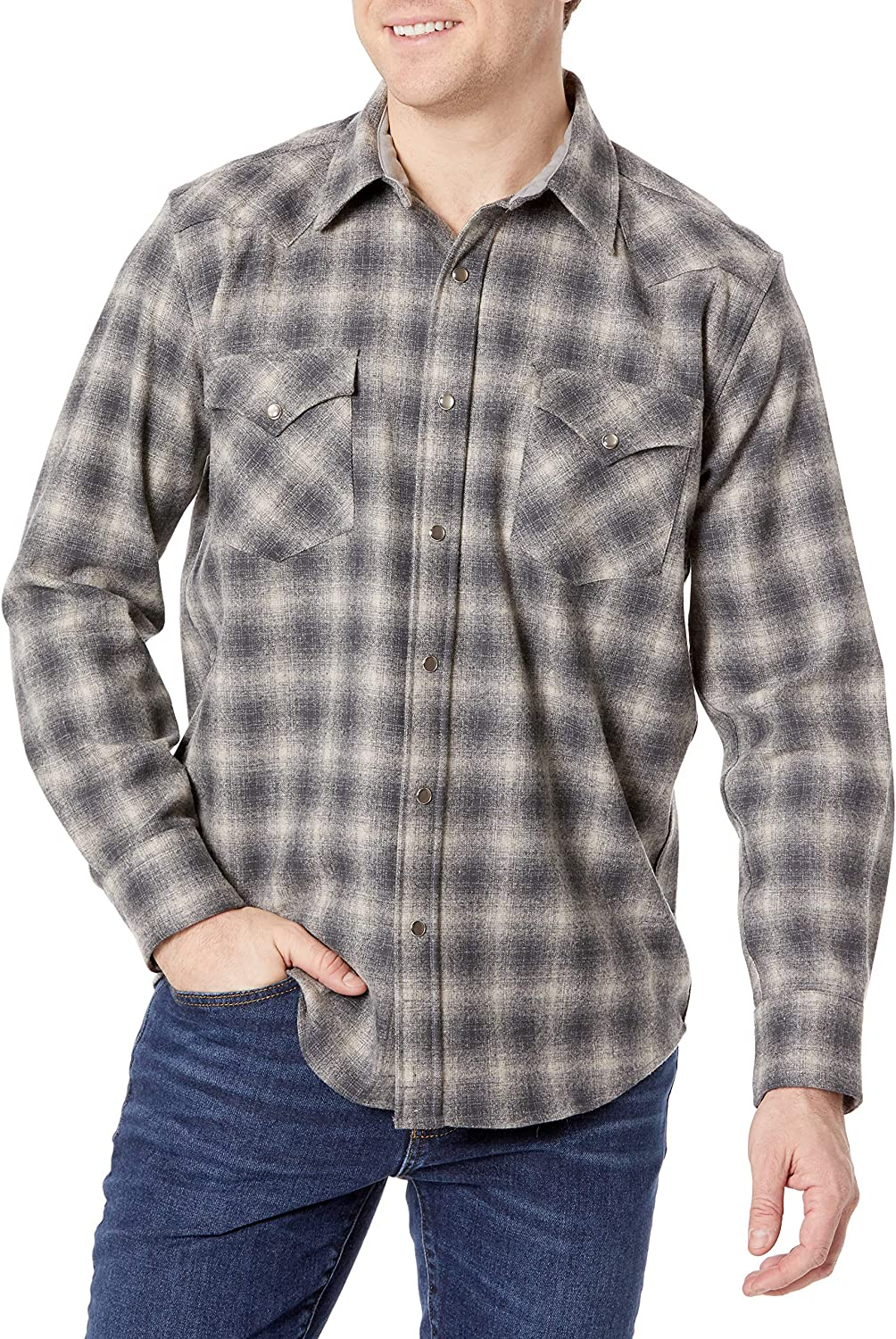 Pendleton Men's Long Sleeve Snap Front Classic Fit Canyon Wool Shirt