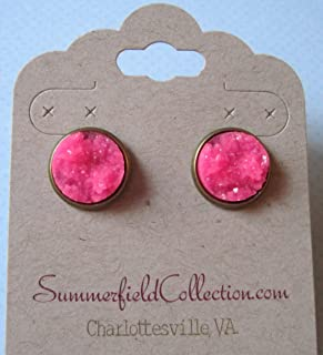 Antiqued Gold-tone Neon Pink Faux Druzy Stone Stud Earrings 12mm