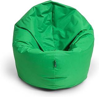 BubiBag Zitzak XL | 2-in-1 zitkussen met vulling vloerkussen kussen fauteuil BeanBag (125cm diameter appelgroen)