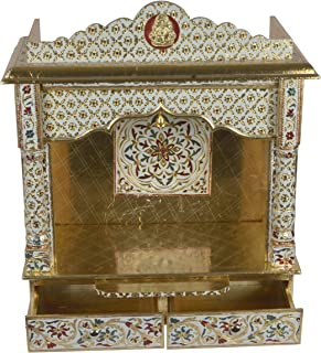 Desi Bazar Meenakari Wooden Pooja Mandir for Home Daily Puja/Aarti/Altar Temple Golden - 25 Inches No Doors