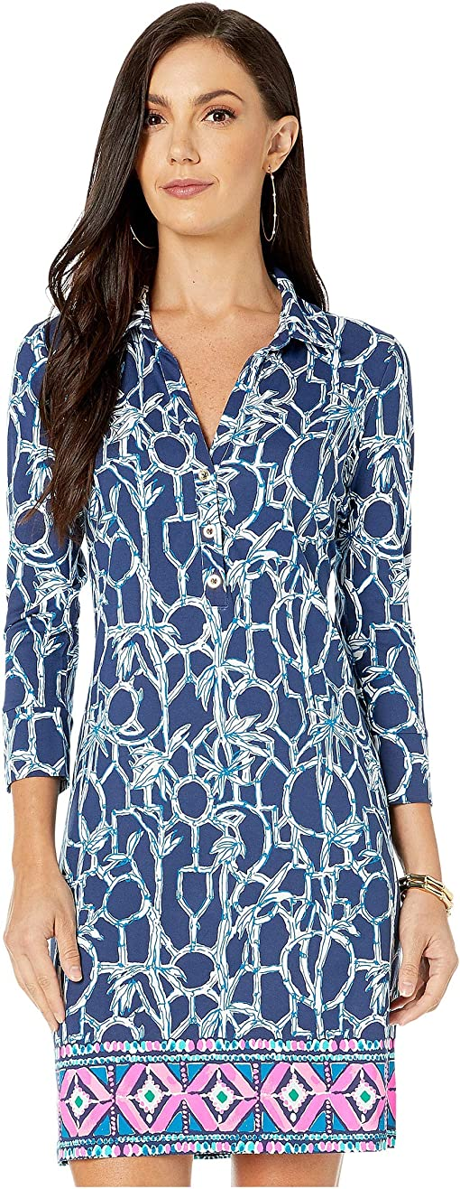 High Tide Navy Lucky Bamboo Engineered Ansley Dress