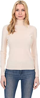 Ribbed Turtleneck Sweater Cashmere Wool Long Sleeve High Neck Pullover for Women (Runs Small)
