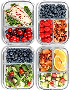 2 & 3 Compartment Glass Meal Prep Containers (4 Pack, 32 oz) - Glass Food Storage Containers with Lids, Glass Lunch Box, Glass Bento Box Lunch Containers, Portion Control, Airtight