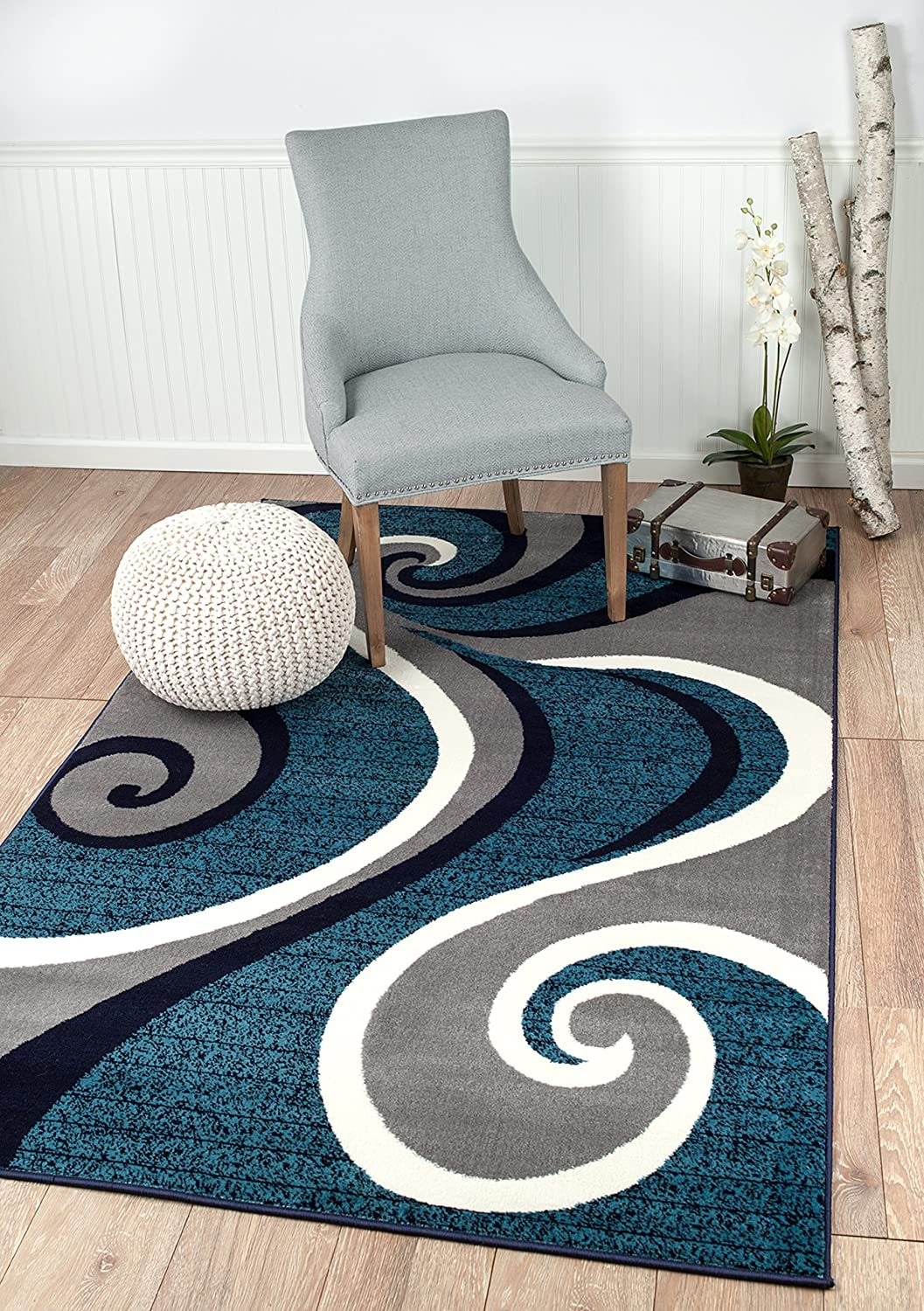 Summit New 32Swirl Blue Navy White Gray Area Surprise price Abstract Light Rug Ranking TOP16