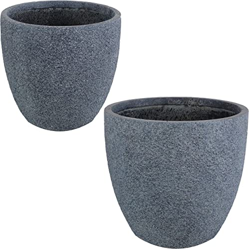 new arrival Sunnydaze Estate Fiber Clay 2021 Planter Flower high quality Pot, Durable Indoor/Outdoor 12-Inch and 15-Inch 2-Piece Set, Gray Sandstone online