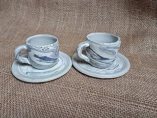 Coppia Tazzine espresso e piattino bianco grigio