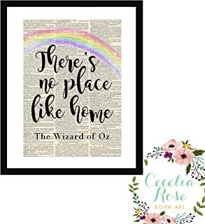 There's No Place Like Home Wizard Of Oz Dorothy Farmhouse Literary Typography Vintage Book Page Word Art Quote Print-Wall Art-Gift 8x10 Unframed Print