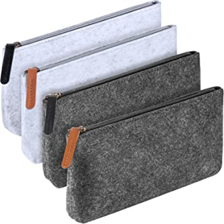 Hestya 4 Pieces Pencil Bag Pen Case Travel Bag Makeup Organizer Bag Multi-Functional Felt Pouch Zipper Bag for Pens, Pencils, Highlighters, Gel Pen (Light Grey Dark Grey)