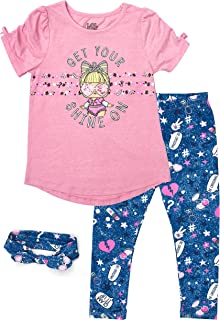 L.O.L. Surprise! Get Your Shine On SS Flip Sequin Tee and Capri Legging Set (Pink/Navy, 4)