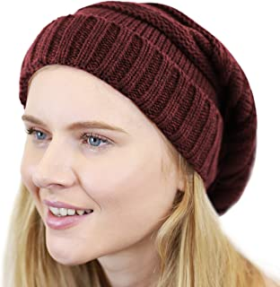 THE HAT DEPOT Unisex Two Tone Long Cable Knit Slouchy Beanie Skully Hat