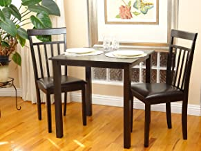 Rattan Wicker Furniture 3 Pc Dining Room Dinette Kitchen Set Square Table and 2 Warm Chairs in Espresso Black Finish