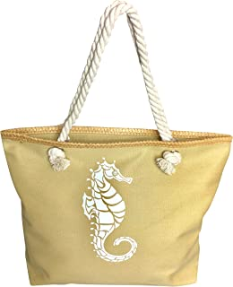 Beach Bag Large Tote Canvas Shoulder Bag with Zipper and Water Resistant Lining (Beige Seahorse)