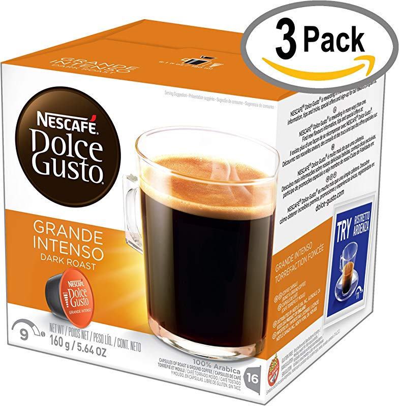 NESCAF Dolce Gusto Coffee Capsules Grande Intenso 48 Single Serve Pods Makes 48 Cups 48 Count
