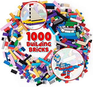 SCS Direct 1000 pc Classic Building Bricks - Bulk Blocks w 54 Roof Pieces and Better Variety - Compatible with All Brands